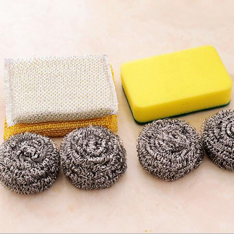 Super Practical Kitchen Cleaning Tools Stainless Steel Cean Ball Sponge Cleaning Cloth Set(China (Mainland))