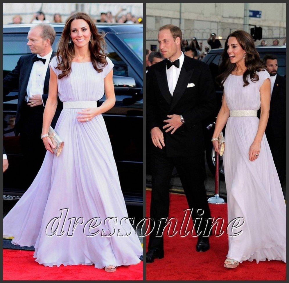 KT005 Elegant Free Shipping Kate Middleton Scoop Neck Empire Beaded Evening Dress For Bafta Brits Gala Red Carpet Prom Dresses(China (Mainland))