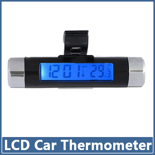2015 New 2in1 Car Auto LCD Clip-on Digital Backlight Automotive Thermometer Clock free shipping(China (Mainland))