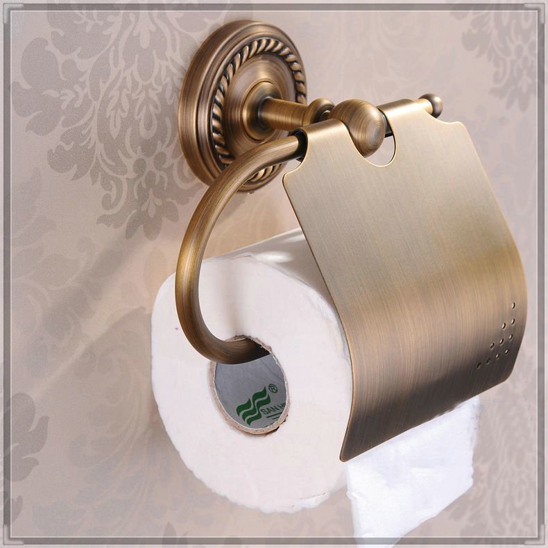 Antique finished toilet paper holder with cover paper rack bathroom accessories paper roll - Bathroom accessories toilet paper holders ...