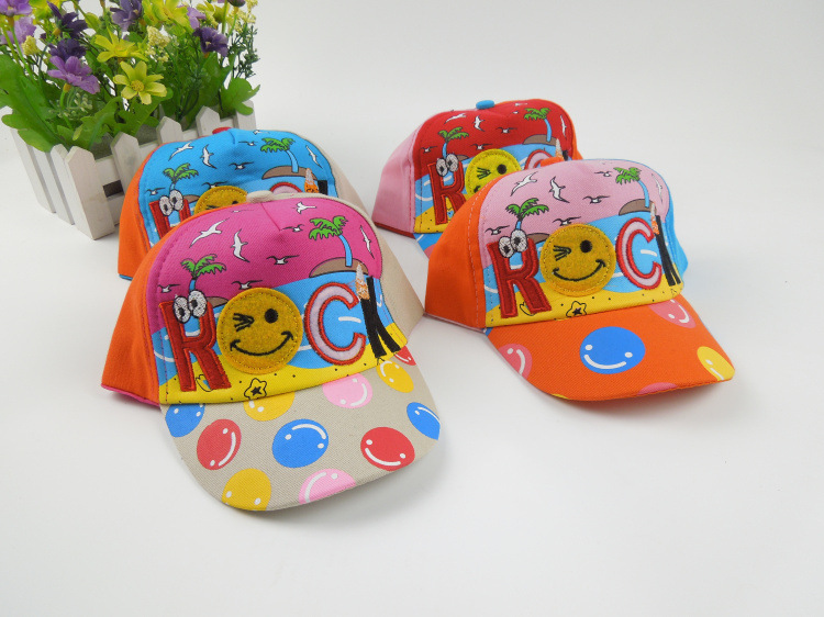 wholesale. fashion hat children hat boy girl kids fitted letter baseball cap sport brand . Smiling face design hat. Mixed color(China (Mainland))