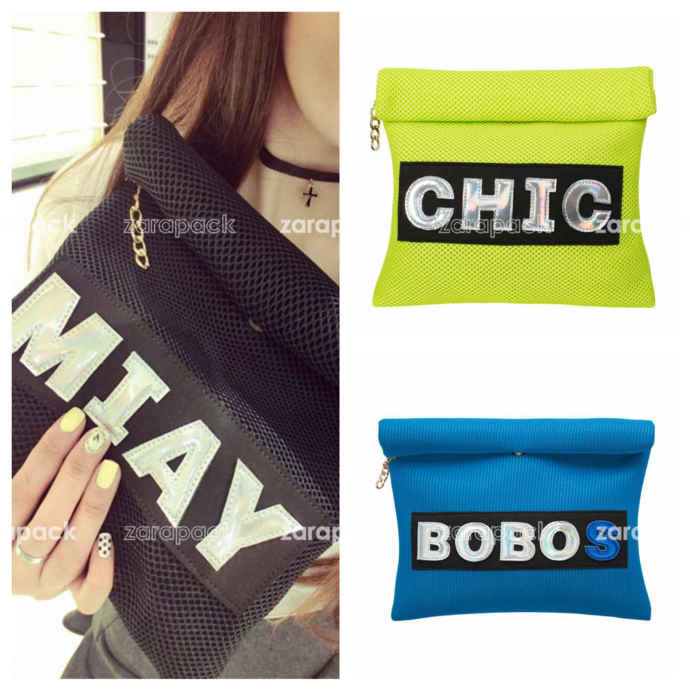 New Designer Customized Neon Color Hologram Letter Fold up Clutch Roll up Envelope Bag Bolsa Free Shipping(China (Mainland))