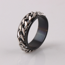 black color chain  rings 316L Stainless Steel men ring jewelry Free shipping wholesale lots