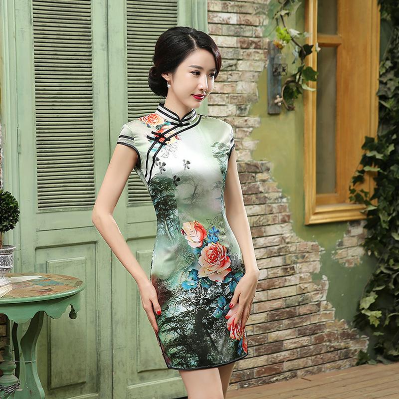Stylish Novelty Womens Silk Mini Cheongsam Chinese Classic Female Qipao Dress Vestido mujere Costume Size S M L XL XXL JL04Одежда и ак�е��уары<br><br><br>Aliexpress