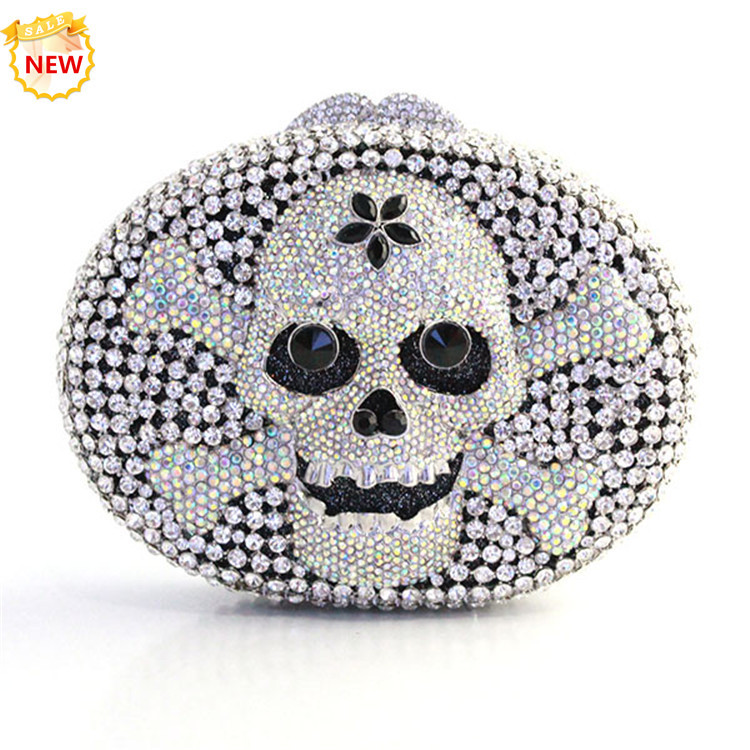Free shipping USPS Luxurious skull shape crystal bag diamond glitter sparkle woman clutch handbag bridal wedding