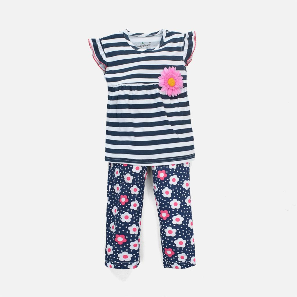 Free Shipping Baby Girls Clothing Set Girls Suit Kids Two Pieces Cotton Striped T shirt + Flower Pants Children Outfit Set Lot<br><br>Aliexpress