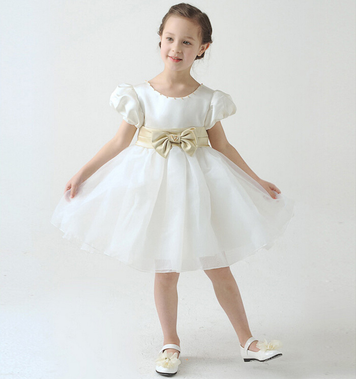 2016 new style summer Girls Princess Gown Kids short Pompon children hosted theatrical birthday baby clothes flower girl dresses<br><br>Aliexpress