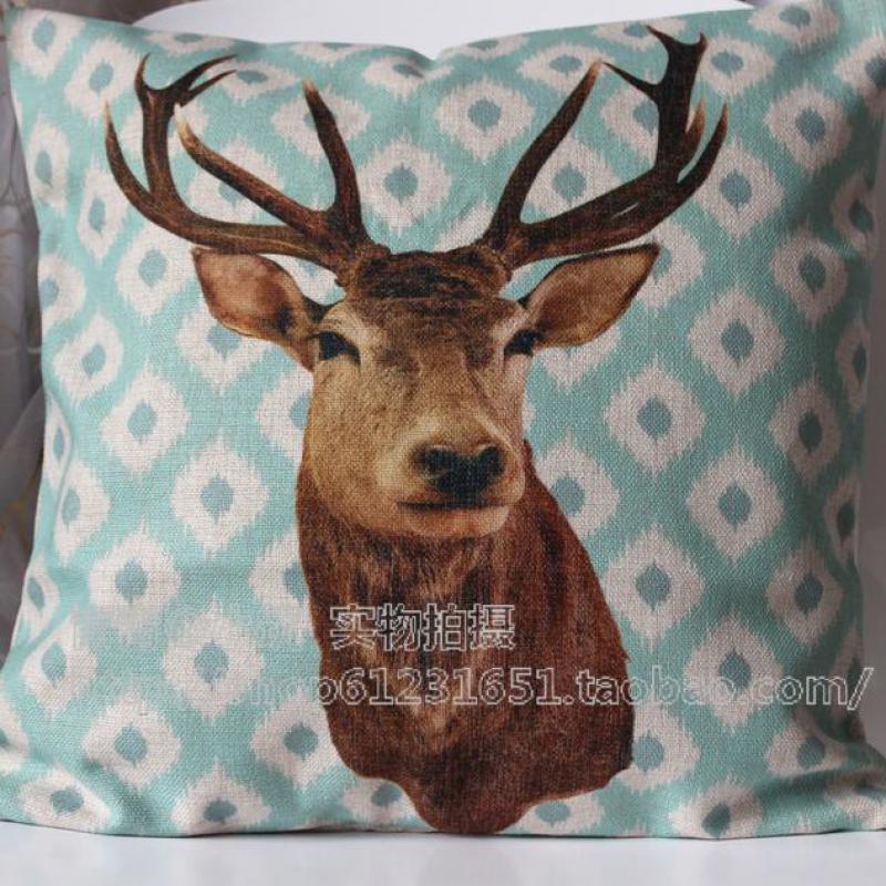 45*45cm Cotton Linen Light Green Plaid Decorative Cushion Covers Sofa Car Seat Throw Cushion Case Deer Head Square Headrest(China (Mainland))