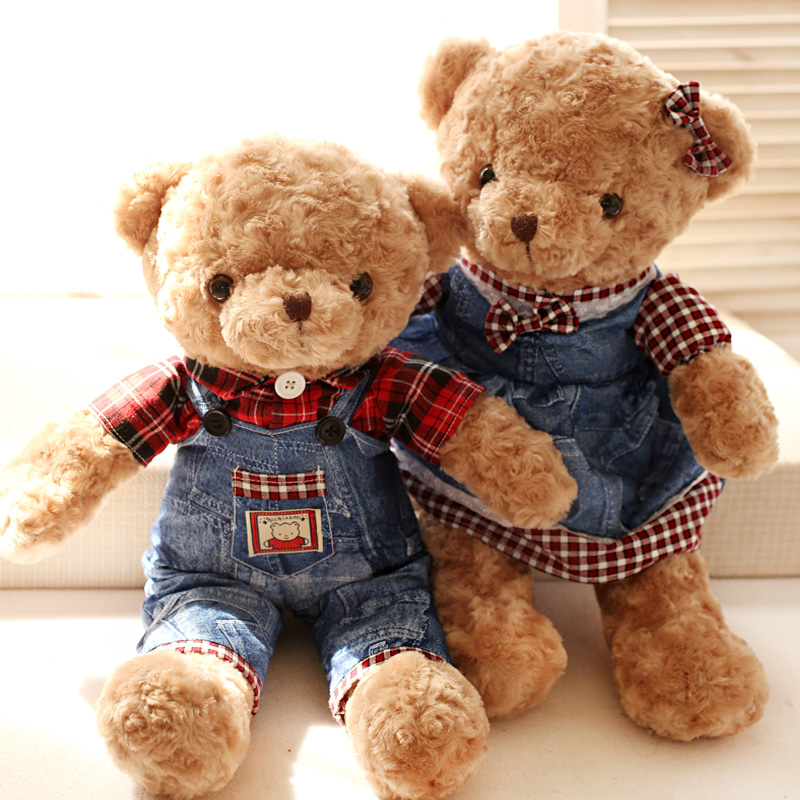 Hot sale 55cm 1pc sweet Jeans couples bear plush animal doll hold pillow stuffed toy baby children gift(China (Mainland))