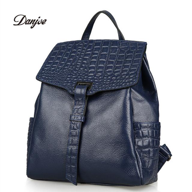 Новое поступление натуральная кожа женщины рюкзак твердые дизайнер студент школьные ...