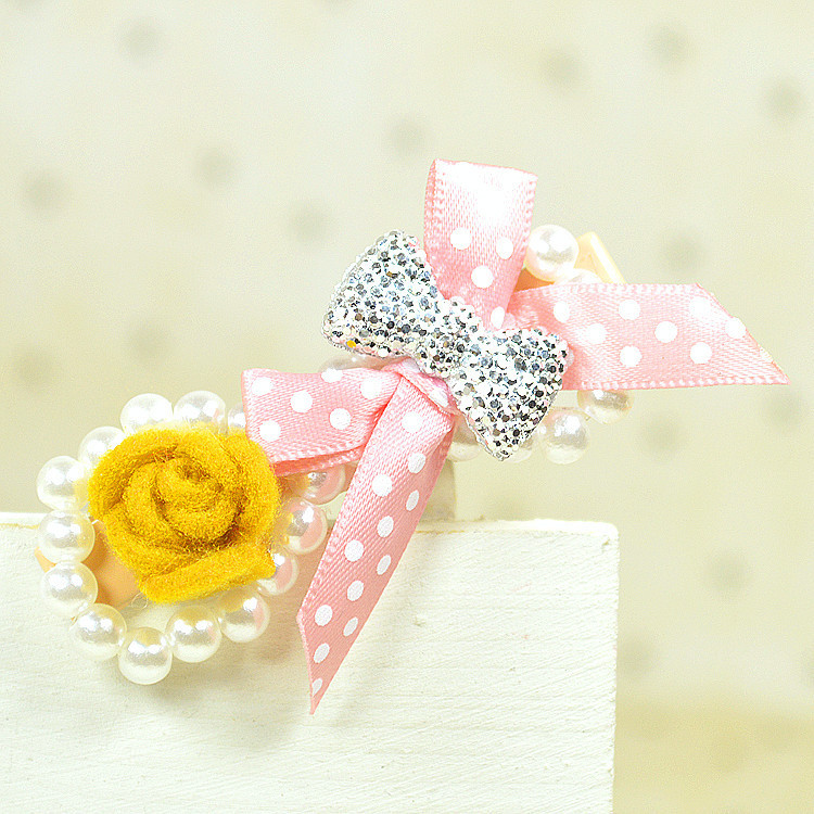1 PCS Summer Style 2015 Women Hair Clip Cute Lace Bow Pearl Rose Flower Hairpins Clips For Hair Accessories(China (Mainland))