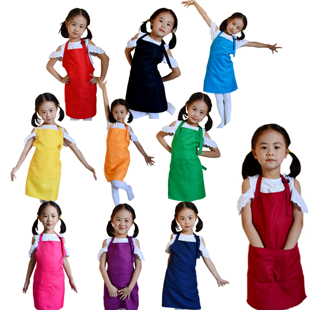 Little Chef Polyester Kids Apron Child Cooking Baby Apron Avental de Cozinha Divertido Pinafore Apron (Size: 50*40cm)(China (Mainland))