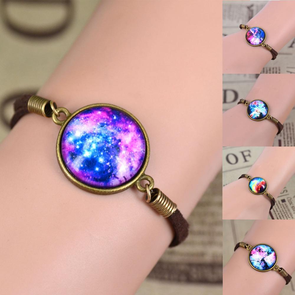 No Mini free shipping NEW Galaxy Bracelet Lovely galaxy Nebula Space Glass Bracelet Suede Leather Bracelet