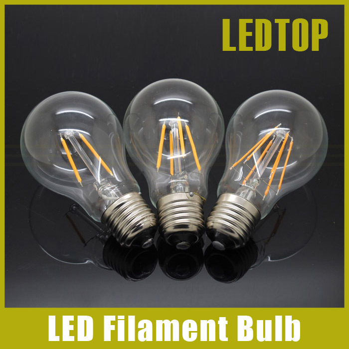 New Dimmable E27 LED Filament Light Glass Housing Blub Lamps 220V 4W 8W 12W 360 Degree Retro Dimming Candle Lighting Edison(China (Mainland))