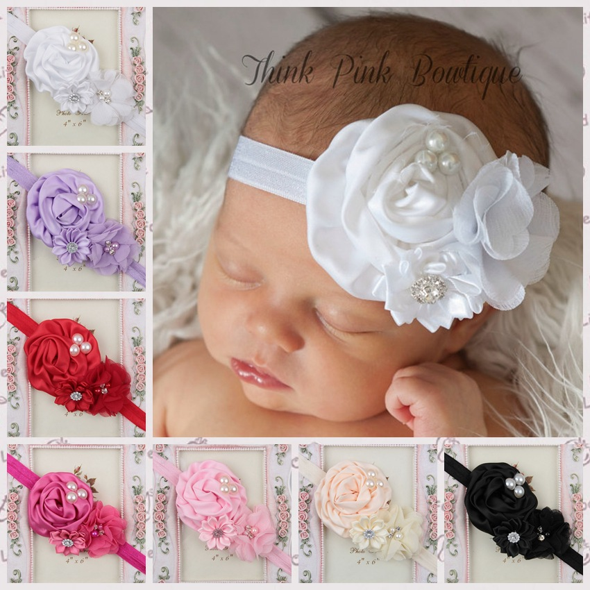 Retail Elastic Headbands with pearl rhinstone button flower baby girl hair accessories infant rose flower hairbands headwear(China (Mainland))