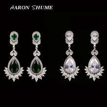 New Listing Green Rhinestone Flower Shape Crystal Earring Luxury Dangledrop Long Earrings for Women GLE4436(China (Mainland))