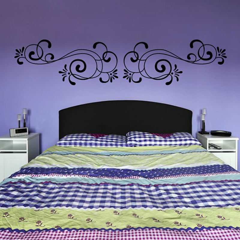 Simple Symmetrical Swirl Flowers Wall Stickers Home Decor Removable Vinyl Art Wall Decal For Bedroom