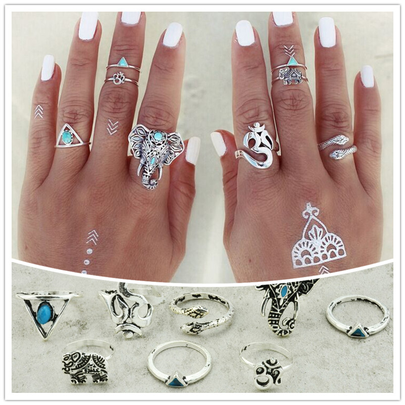 New fashion jewelry vintage silver plated Elephant Snake finger ring set 1lot=8pieces for women girl nice gift R4045(China (Mainland))