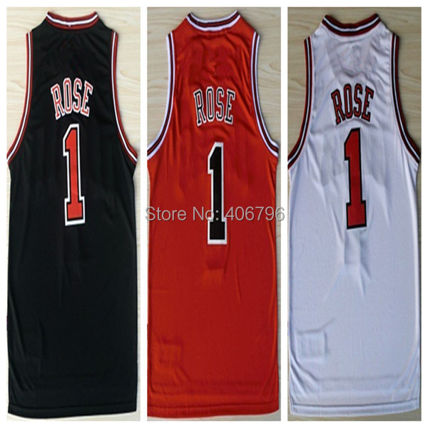 #1 Derrick Rose Brand New Jerseys Red/White/Black All logos New Material Rev 30 Embroidery Shirt Basketball Jersey(China (Mainland))