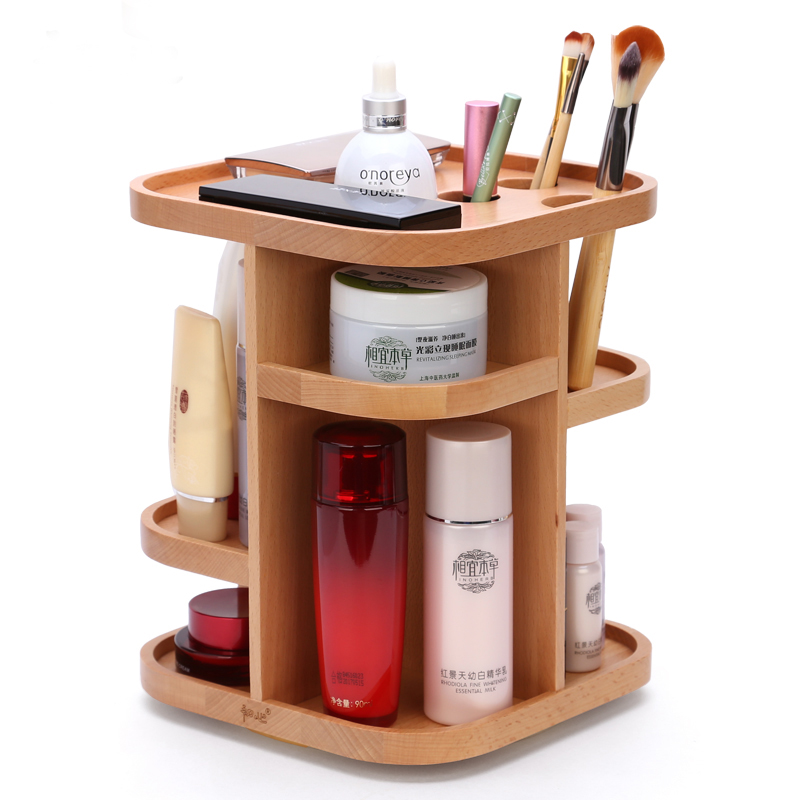 Chinese Brand 360 Degree Rotation Wood Cosmetic Storage