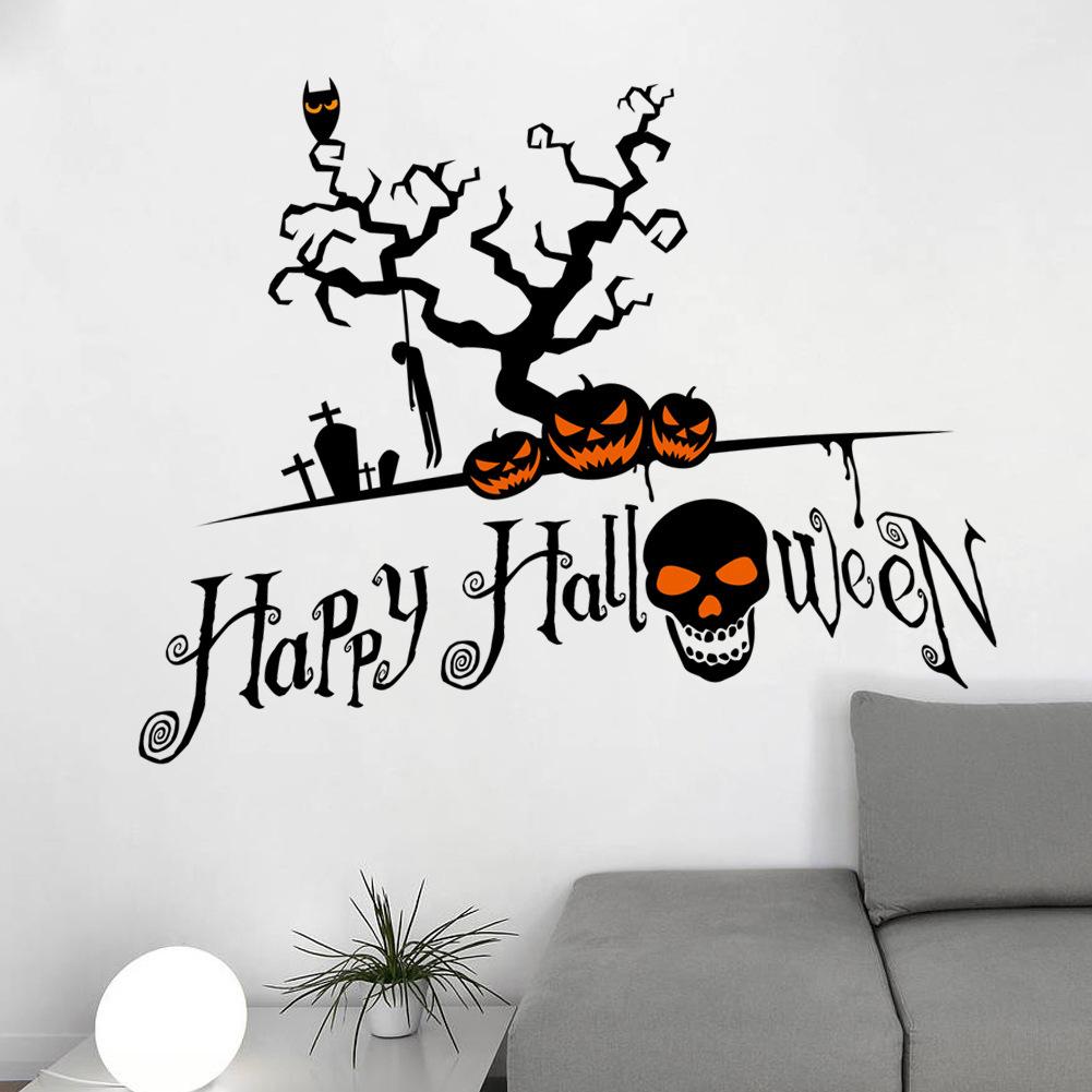Halloween Pumpkin Skull Waterproof Removable Wall Stickers for kindergartn and bar(China (Mainland))