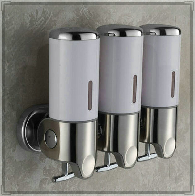 Wall Mounted Three Heads Liquid Soap Dispenser Shampoo Box Water Bathroom Faucet In Liquid Soap