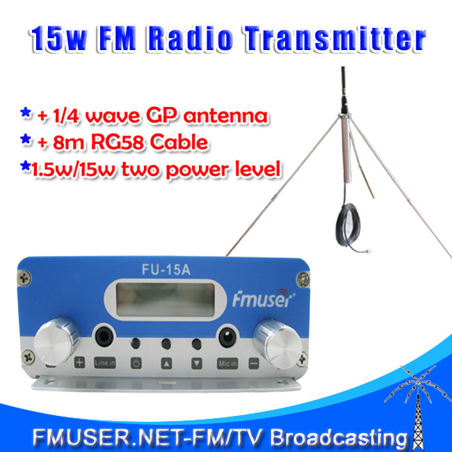 Freeshipping FMUSER 15W FU15A stereo PLL FM transmitter broadcaster GP antenna power KIT FM transponder(China (Mainland))