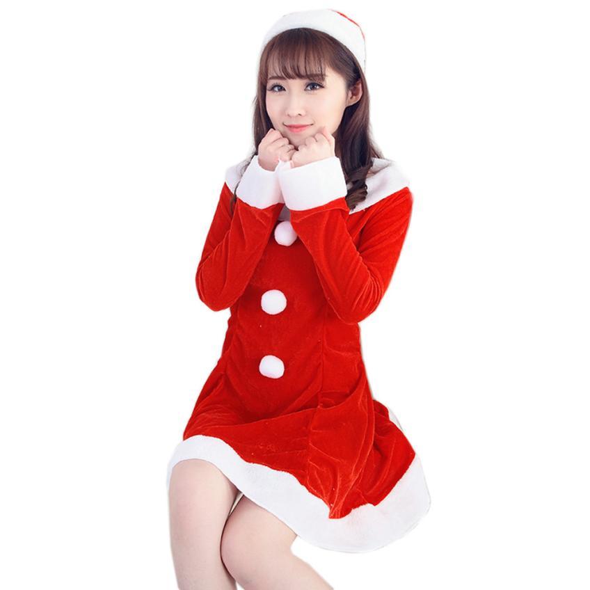 Newly Stylish Women Sexy Cute Santa Christmas Costume Fancy Dress Xmas Office Party Outfit For Lady No7 Beautiful(China (Mainland))