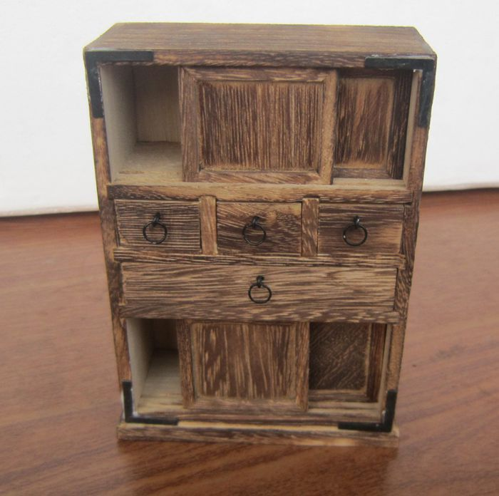 Handmade Antique Wooden Cabinet Living Room Ornament New Home Mini Furniture Model Nostalgia In