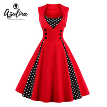 Buy AZULINA Vintage Retro Women Dress Sleeveless Polka Dot 2017 Summer Party Evening Vestido Elegant Ladies Red Line Plus Size 4XL for $12.99 in AliExpress store