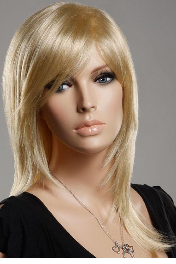 Прически на длинные блондинки с длинной челкой