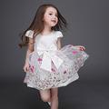 Fashion 2016 Bow Summer High Quality Tutu Floral Print Girls Dresses Embroidery Vestidos Mesh Flower Kids