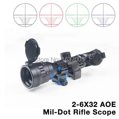 Винтовочный оптический прицел RiLong 2/6 x 32 AOE mil/dot + 20 Airsoft HT6-0024 винтовочный оптический прицел leapers utg 6 x 32 mil dot 6x32