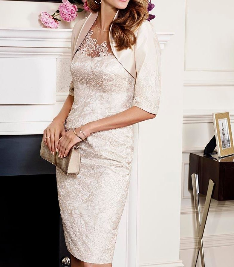 Cream Coloured Mother Of The Bride Lace Dresses Knee