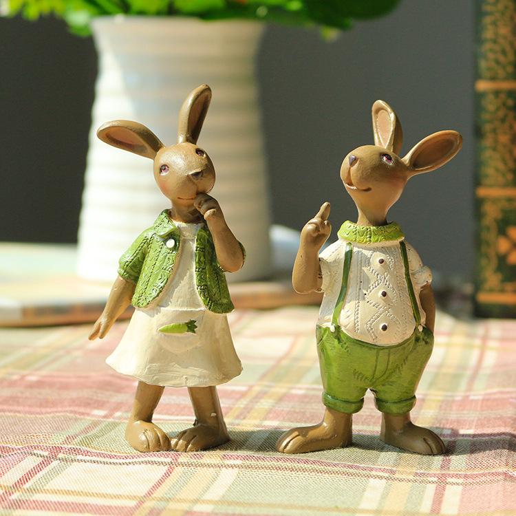 easter rabbit decoration creative craft gifts rural green decorative rabbit furnishing articles resin animals