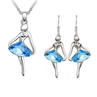 Wholesale Fashion Jewelry / Austria crystal blue fantasy ballet girl Angel Earrings and necklace set -041(China (Mainland))