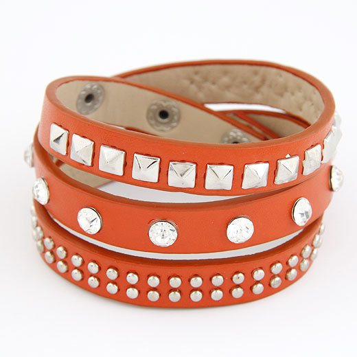 Hottest 2014 Punk Rock Colors Rivet MultiLayers Circles Stud Chain Leather Cuff Bracelets Bangles Women Men
