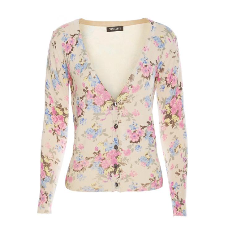 Women'S Floral Cardigan Sweaters - Gray Cardigan Sweater