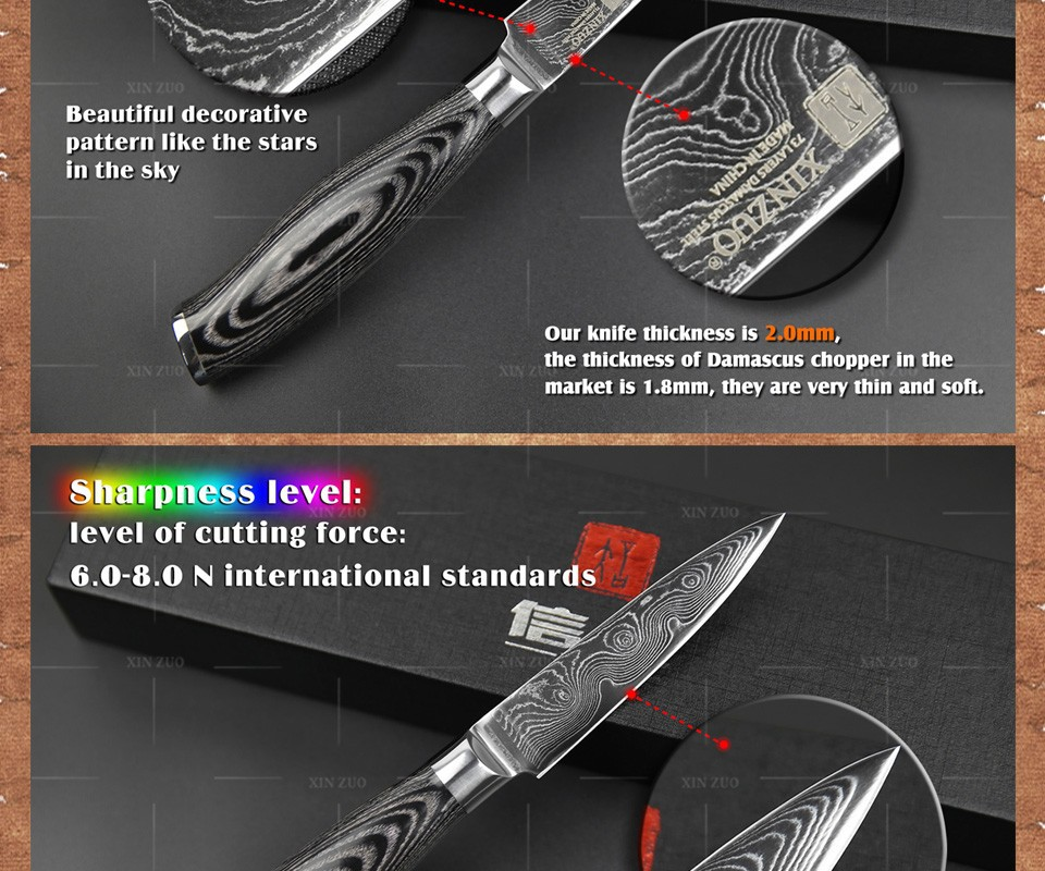 "Buy 3.5"" inch paring knife damascus Japan Damascus kitchen knife sharp peeling fruit knife with Color wood handle free shipping cheap"