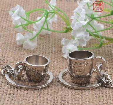 Stereo lover couple keychain key chain cup the following three dollars a small gift - key ring(China (Mainland))