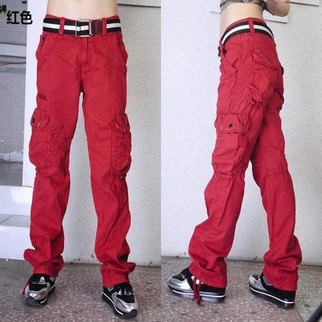 #0905 Khaki Cargo pants women Army Hip hop pants Big backage Women joggers Dance Women camo cargo pants 5 color Camouflage(China (Mainland))