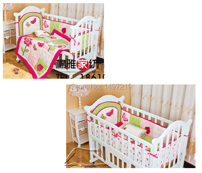 PH029 pink child crib linen set (4)