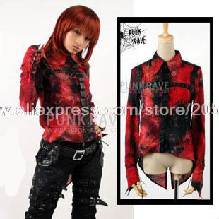 Gothic Punk luxurious costumes dye red decadent type dovetail shirt (cool)Y Free Shipping(China (Mainland))