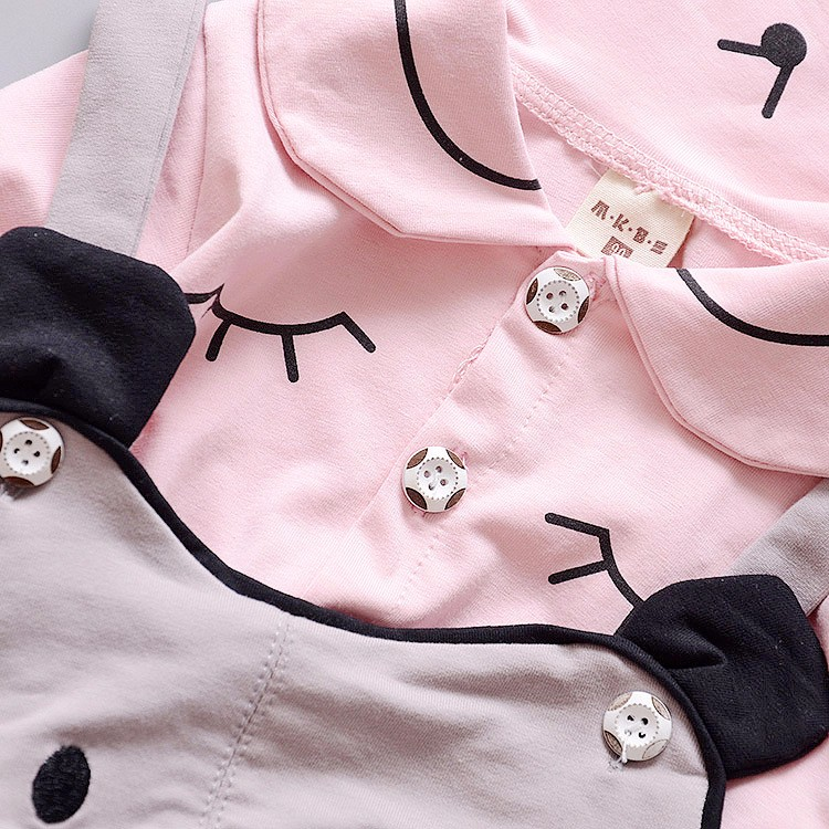 new 2016 autumn baby girl winter clothes sets blouse+mouse strap pants 2pcs children clothing set baby girl pajamas newborn suit