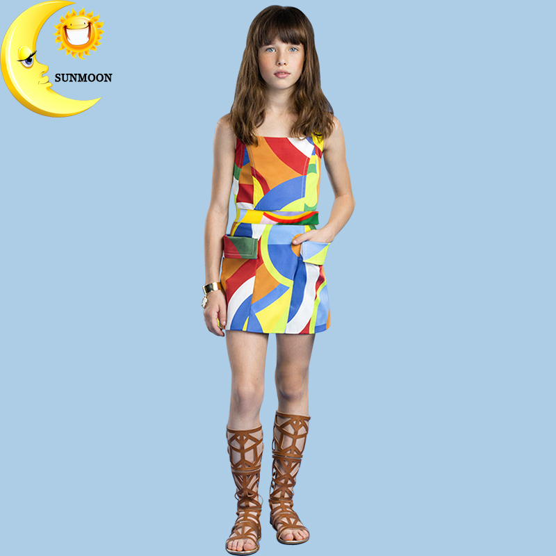 Fashion girl dress summer dress teenage girls clothing candy color party dresses designer kids children clothes boutique costume(China (Mainland))