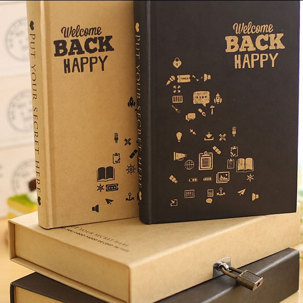 Weekly Day planner Vintage Diary Notebook with lock 120 Sheets Retro notebook paper Office School Supplies gift wholesale(China (Mainland))
