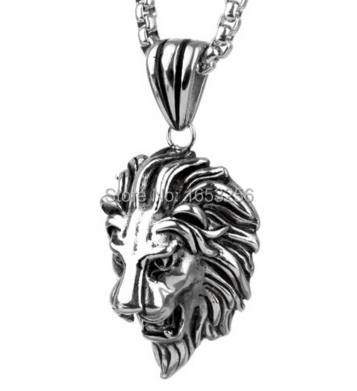 "3MM 24"" ROLO CHAIN 316L STAINLESS STEEL SILVER MEN'S LARGE LION HEADS NECKLACE PENDANT HOLIDAY GIFTS HEAVY(China (Mainland))"