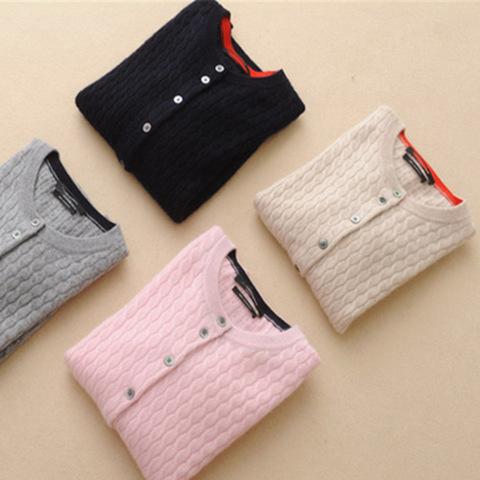 Free shipping 2016 new women's round neck cashmere sweater pure wool cardigan autumn winter sweater cardigan sweater coat women(China (Mainland))