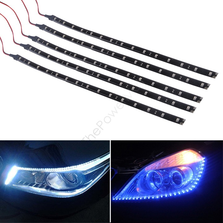 New Sale 5 x 15 LED 30cm Car Motor Vehicle Flexible Waterproof Strip LED Lamp Light Blue/ White 12v 34(China (Mainland))