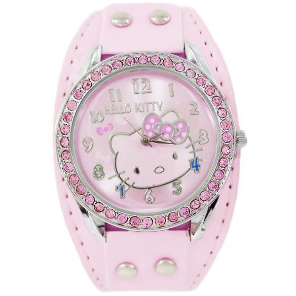 Transparent Hello kitty Leather Quartz Watch For Unisex Diamond crystal Gift  Analog Wrist Women's Watch W356I Free shipping